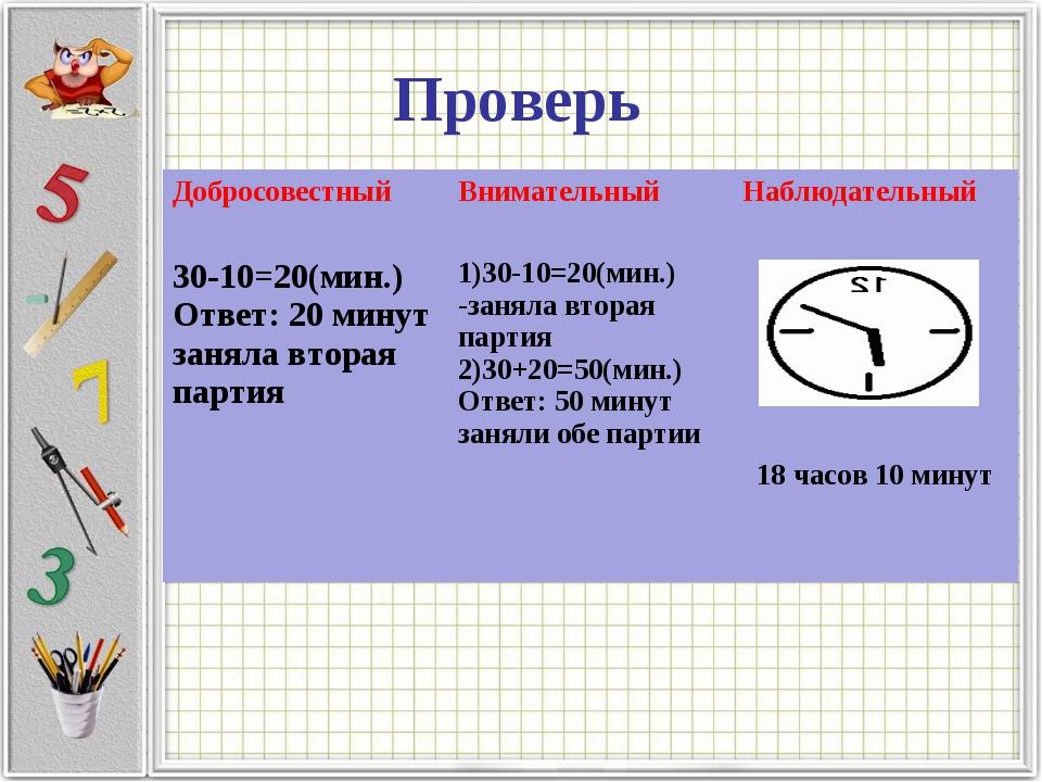 Проверь ДобросовестныйВнимательныйНаблюдательный 30-10=20(мин.) Ответ: 20 м...