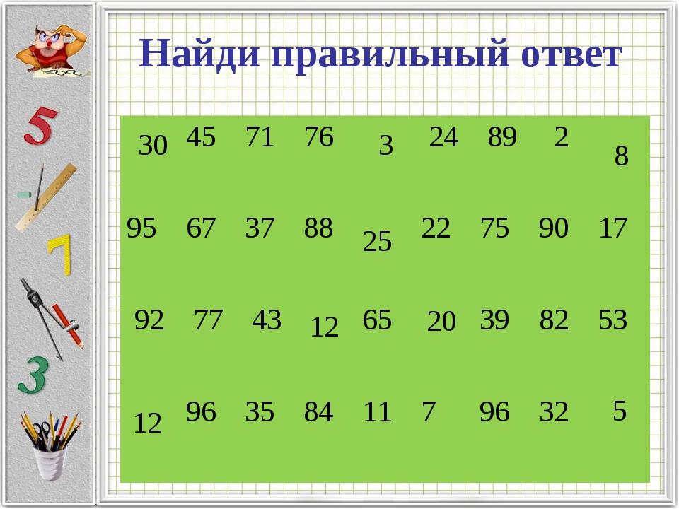 Найди правильный ответ 3 12 5 25 30 12 20 8 45717624892 95673788...