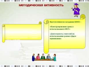методическая активность Выступления на заседании ШМО : «Конструирование урока