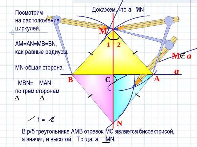 a N B A C М Посмотрим на расположение циркулей. АМ=АN=MB=BN, как равные радиу...
