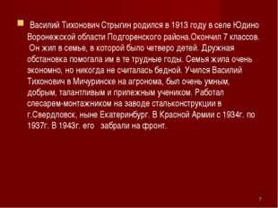 Василий Тихонович Стрыгин родился в 1913 году в селе Юдино Воронежской облас