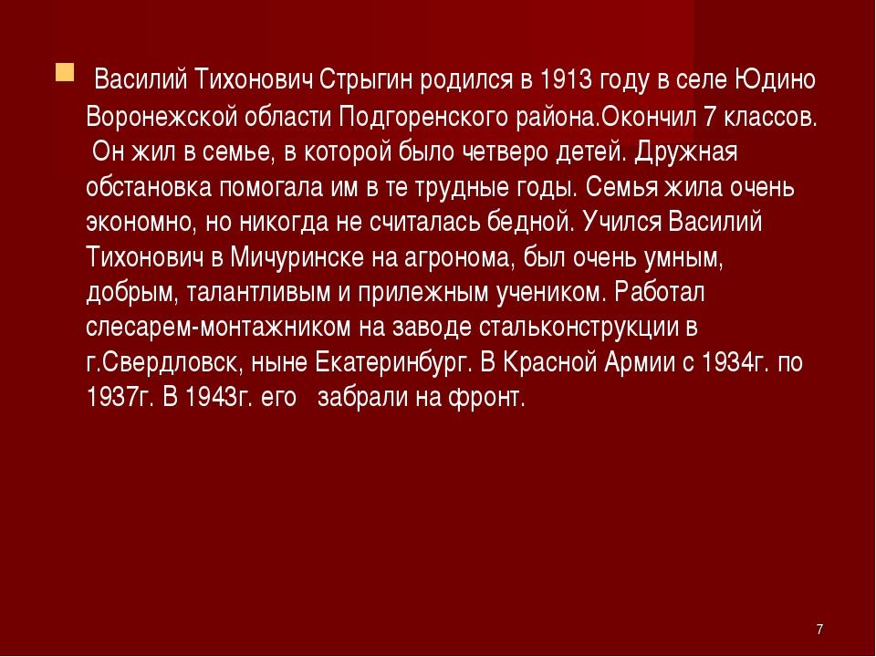 Василий Тихонович Стрыгин родился в 1913 году в селе Юдино Воронежской облас...