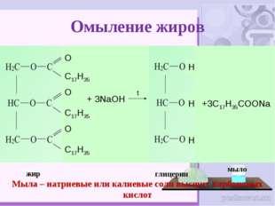 Омыление жиров жир глицерин Мыла – натриевые или калиевые соли высших карбоно