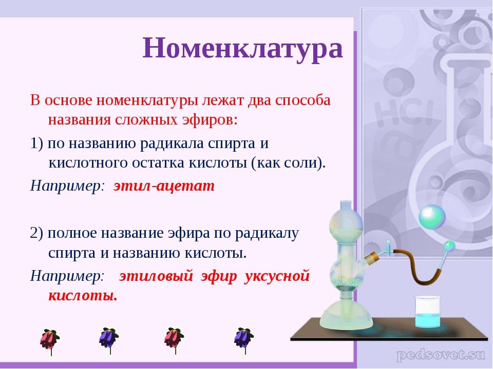 Номенклатура В основе номенклатуры лежат два способа названия сложных эфиров:...