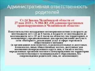 Административная ответственность родителей  Ст.14 Закона Челябинской области