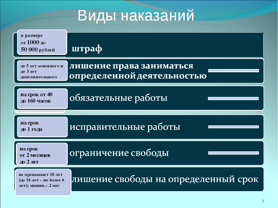 Виды наказаний на срок от 40 до 160 часов в размере от 1000 до 50 000 рублей...