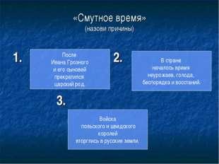 «Смутное время» (назови причины) 1. 2. 3. После Ивана Грозного и его сыновей