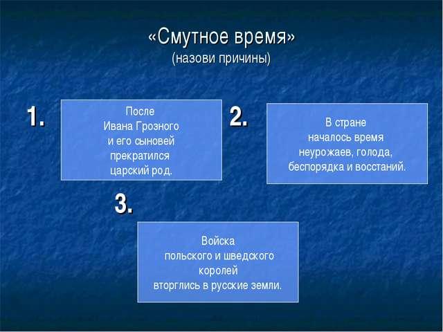 «Смутное время» (назови причины) 1. 2. 3. После Ивана Грозного и его сыновей...