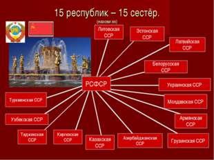 15 республик – 15 сестёр. (назови их) РСФСР Эстонская ССР Латвийская ССР Бело