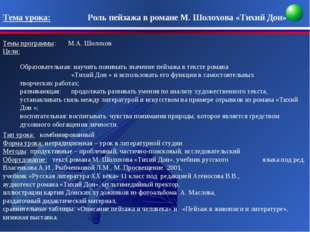 Тема урока: Роль пейзажа в романе М. Шолохова «Тихий Дон» Темы прогр