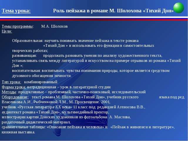 Тема урока: Роль пейзажа в романе М. Шолохова «Тихий Дон» Темы прогр...