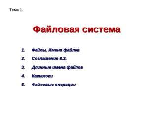 Файловая система Файлы. Имена файлов Соглашение 8.3. Длинные имена файлов Кат