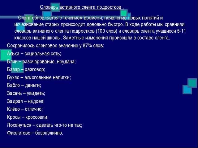Словарь активного сленга подростков . Сленг обновляется с течением времени,...