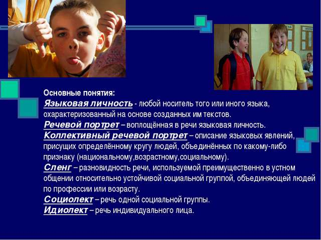 Основные понятия: Языковая личность - любой носитель того или иного языка, о...