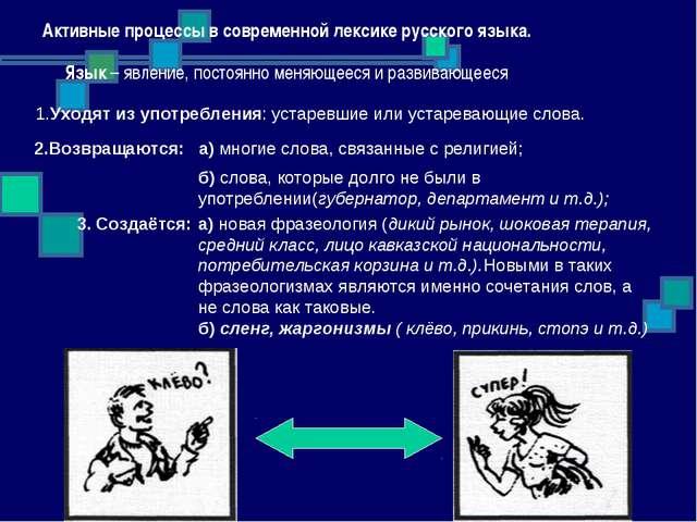 Активные процессы в современной лексике русского языка. Язык – явление, пост...