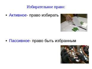 Избирательное право: Активное- право избирать Пассивное- право быть избранным