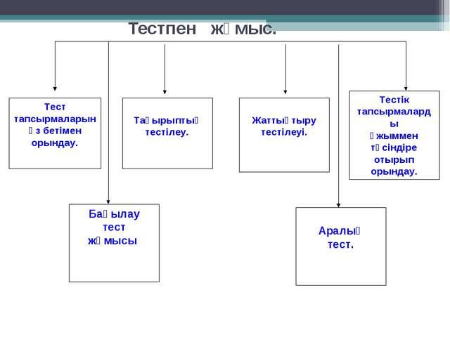 Тестпен жұмыс. Тест тапсырмаларын өз бетімен орындау. Тақырыптық тестілеу. Жа...