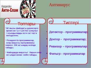 Антивирус Детектор - программалар; Доктор - программалар; Ревизор – программ
