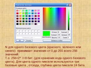 N для одного базового цвета (красного, зеленого или синего) принимает значени