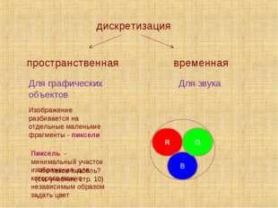 дискретизация временная пространственная Для графических объектов Для звука И