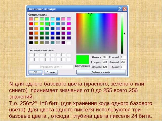 N для одного базового цвета (красного, зеленого или синего) принимает значени...