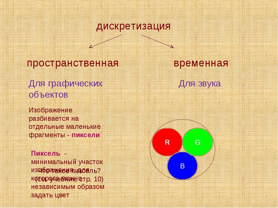 дискретизация временная пространственная Для графических объектов Для звука И...