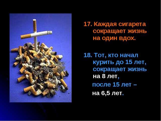 17. Каждая сигарета сокращает жизнь на один вдох. 18. Тот, кто начал курить...