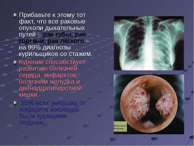 Прибавьте к этому тот факт, что все раковые опухоли дыхательных путей – рак г...