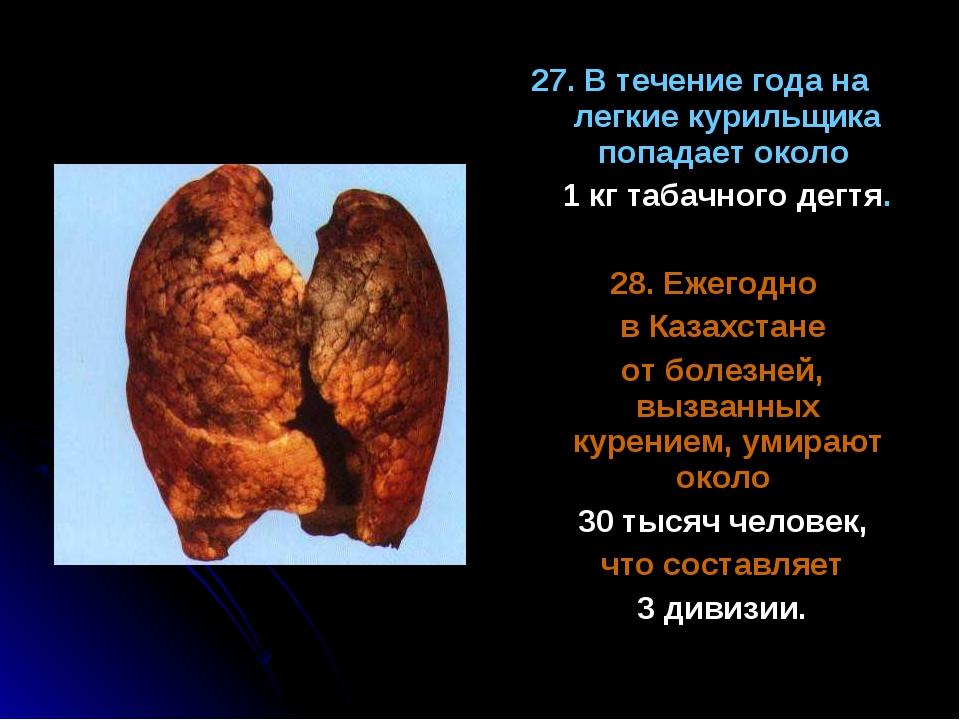 27. В течение года на легкие курильщика попадает около 1 кг табачного дегтя....
