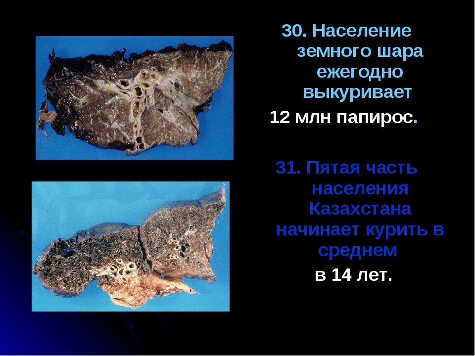 30. Население земного шара ежегодно выкуривает 12 млн папирос. 31. Пятая част...