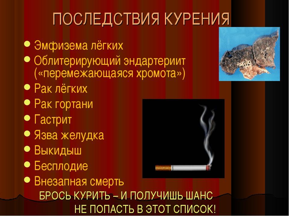 ПОСЛЕДСТВИЯ КУРЕНИЯ Эмфизема лёгких Облитерирующий эндартериит («перемежающая...