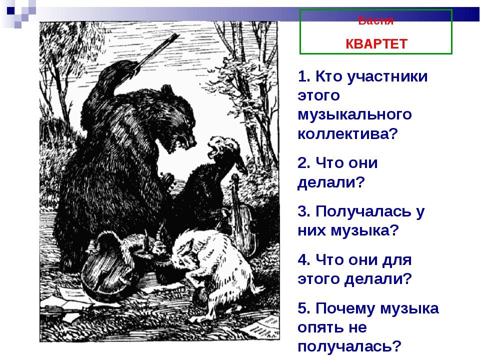 Басня КВАРТЕТ 1. Кто участники этого музыкального коллектива? 2. Что они дела...