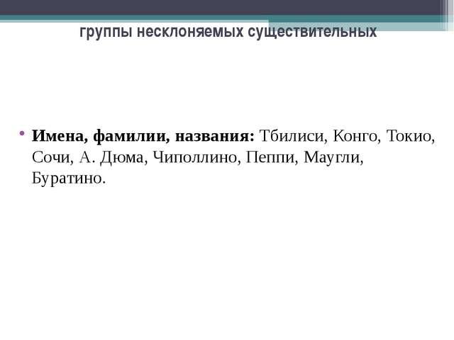 группы несклоняемых существительных Имена, фамилии, названия: Тбилиси, Конго,...