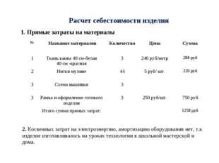 Расчет себестоимости изделия 1. Прямые затраты на материалы 2. Косвенных затр