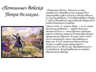 «Потешные» войска Петра Великого. «Потешные» войска́ возникли из так называем