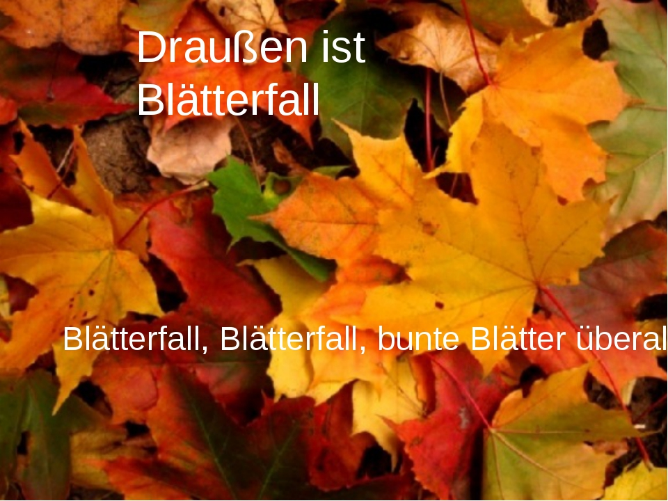 Draußen ist Blätterfall Blätterfall, Blätterfall, bunte Blätter überall