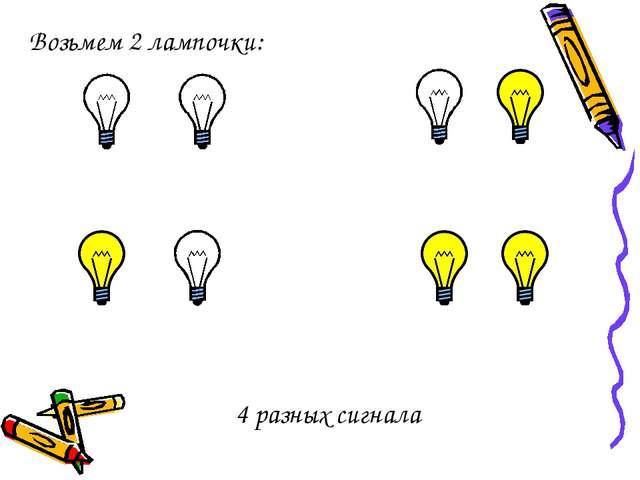 Возьмем 2 лампочки: 4 разных сигнала
