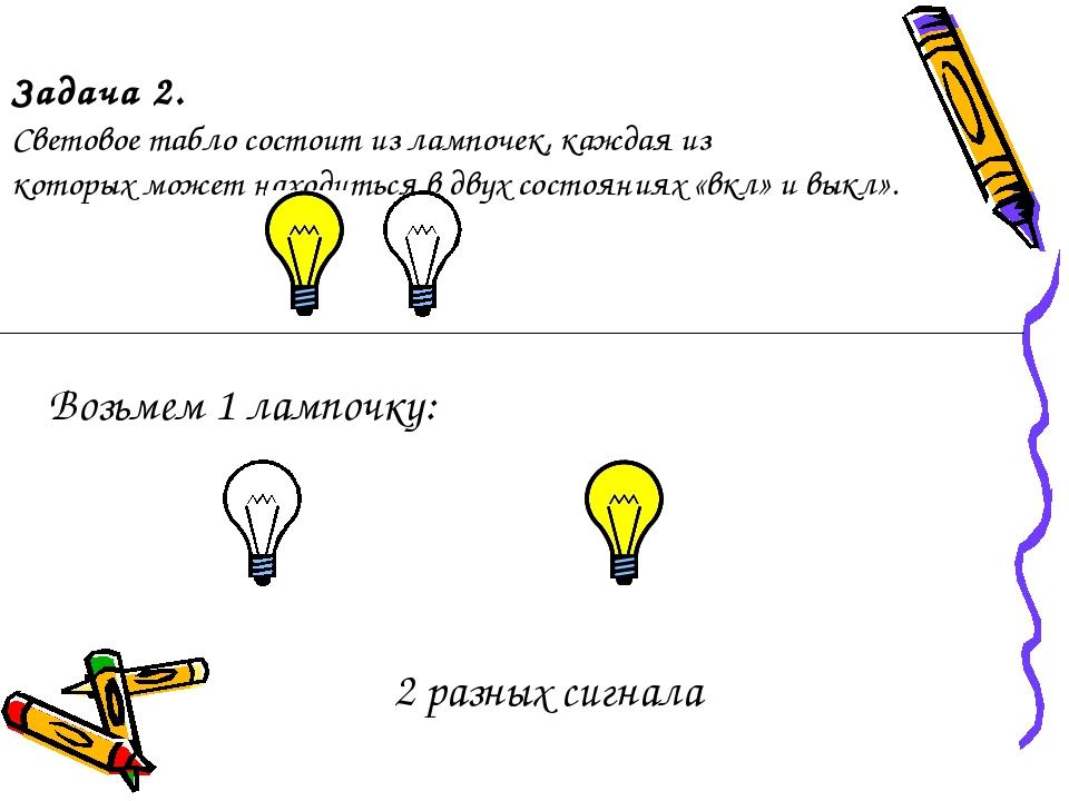 Задача 2. Световое табло состоит из лампочек, каждая из которых может находит...
