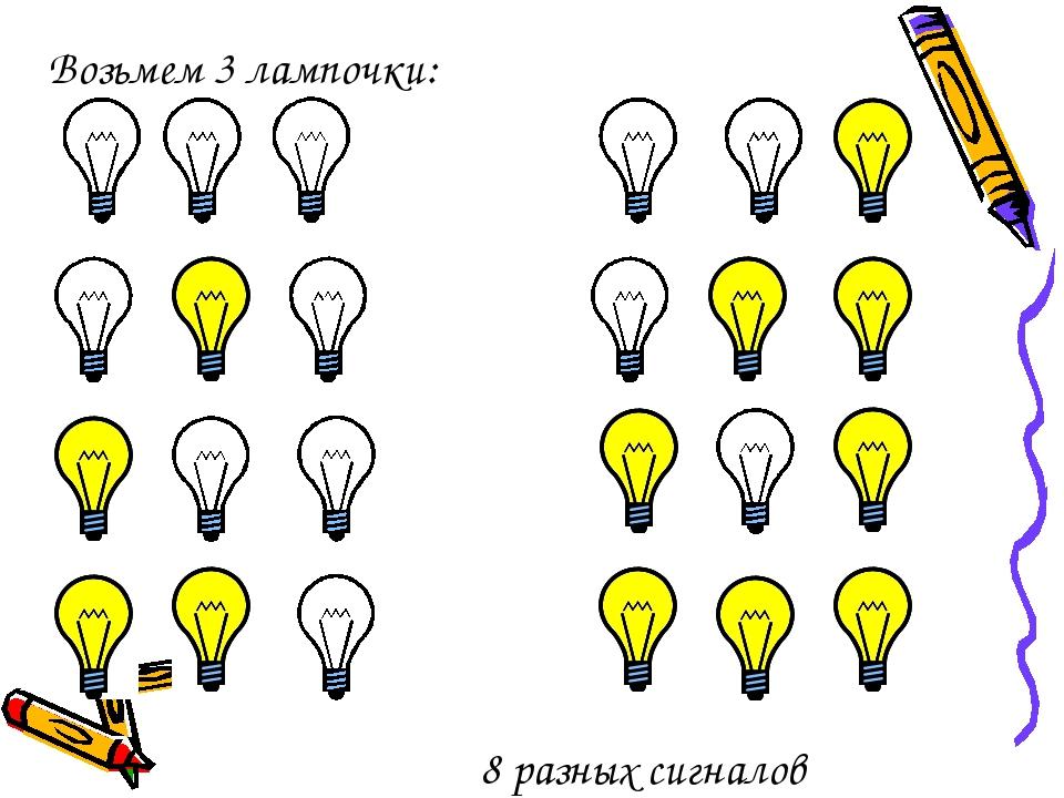 Возьмем 3 лампочки: 8 разных сигналов