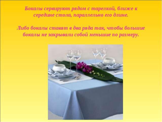 Бокалы сервируют рядом с тарелкой, ближе к середине стола, параллельно его дл...