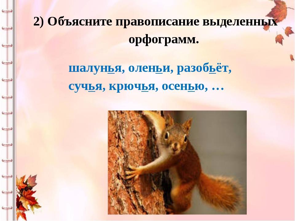 2) Объясните правописание выделенных орфограмм. шалунья, оленьи, разобьёт, су...