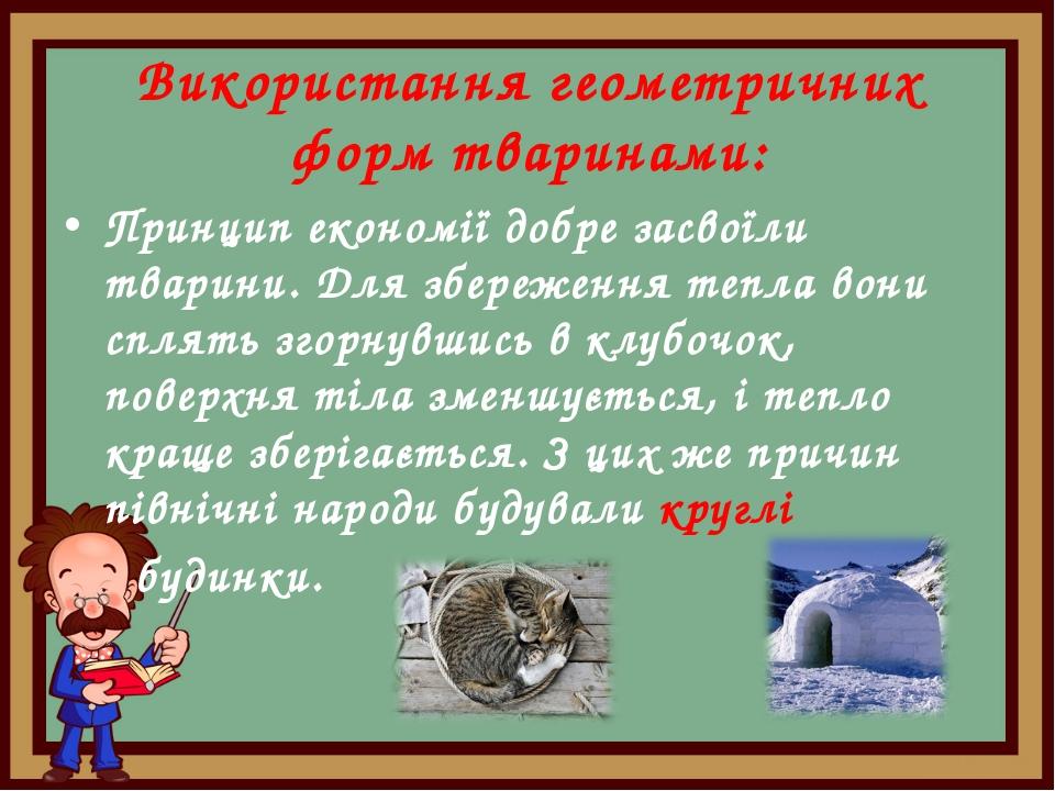 Використання геометричних форм тваринами: Принцип економії добре засвоїли тва...