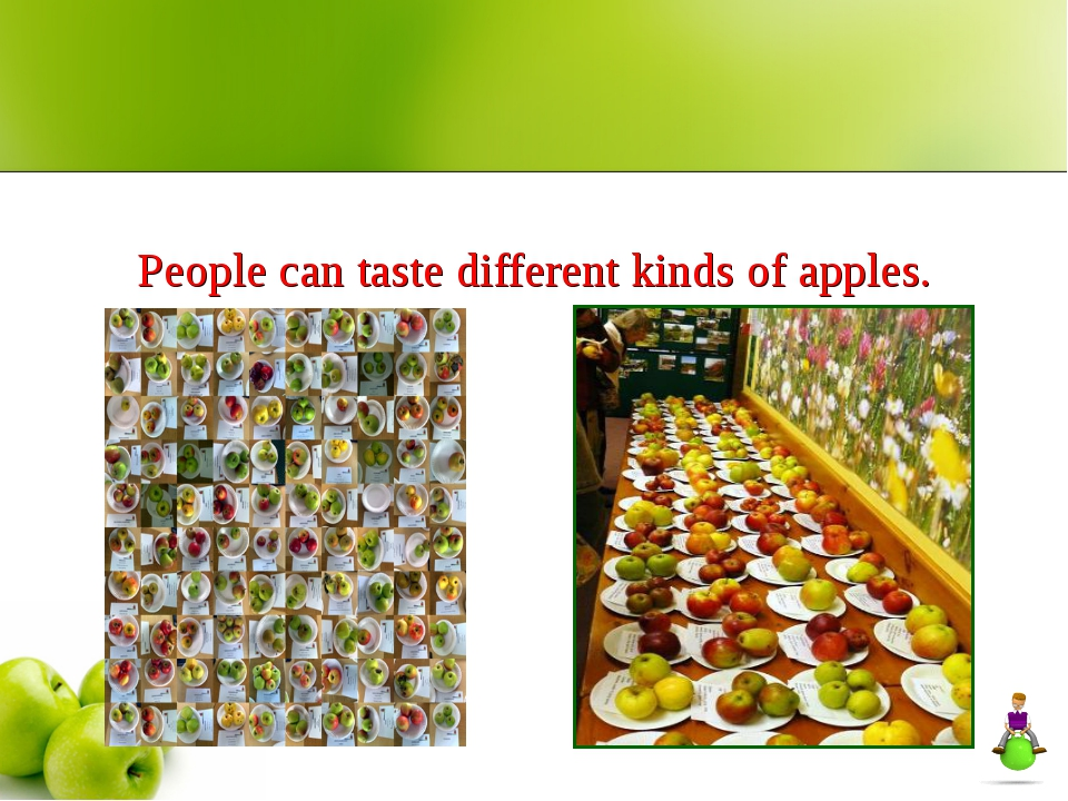 People can taste different kinds of apples.