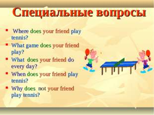 Специальные вопросы Where does your friend play tennis? What game does your f