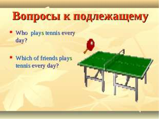 Вопросы к подлежащему Who plays tennis every day? Which of friends plays tenn