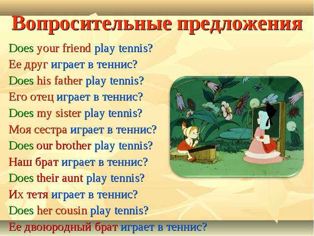 Вопросительные предложения Does your friend play tennis? Ее друг играет в тен...