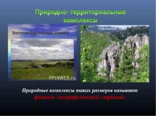Уральские горы Природные комплексы таких размеров называют физико- географиче