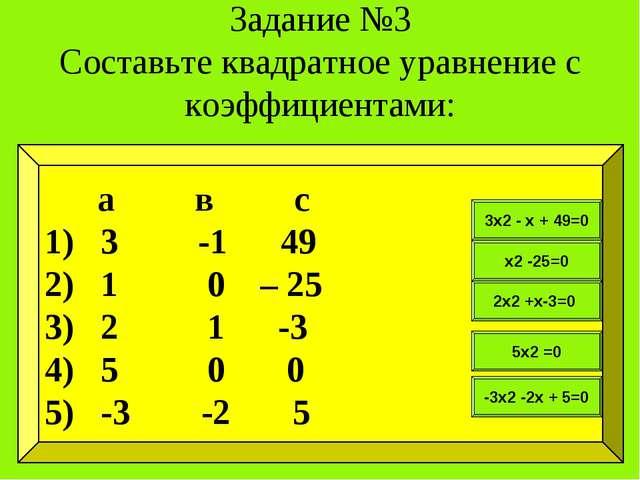 Задание №3 Составьте квадратное уравнение с коэффициентами: а в с 3 -1 49 1 0...