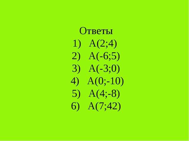 Ответы 1) А(2;4) 2) А(-6;5) 3) А(-3;0) 4) А(0;-10) 5) А(4;-8) 6) А(7;42)