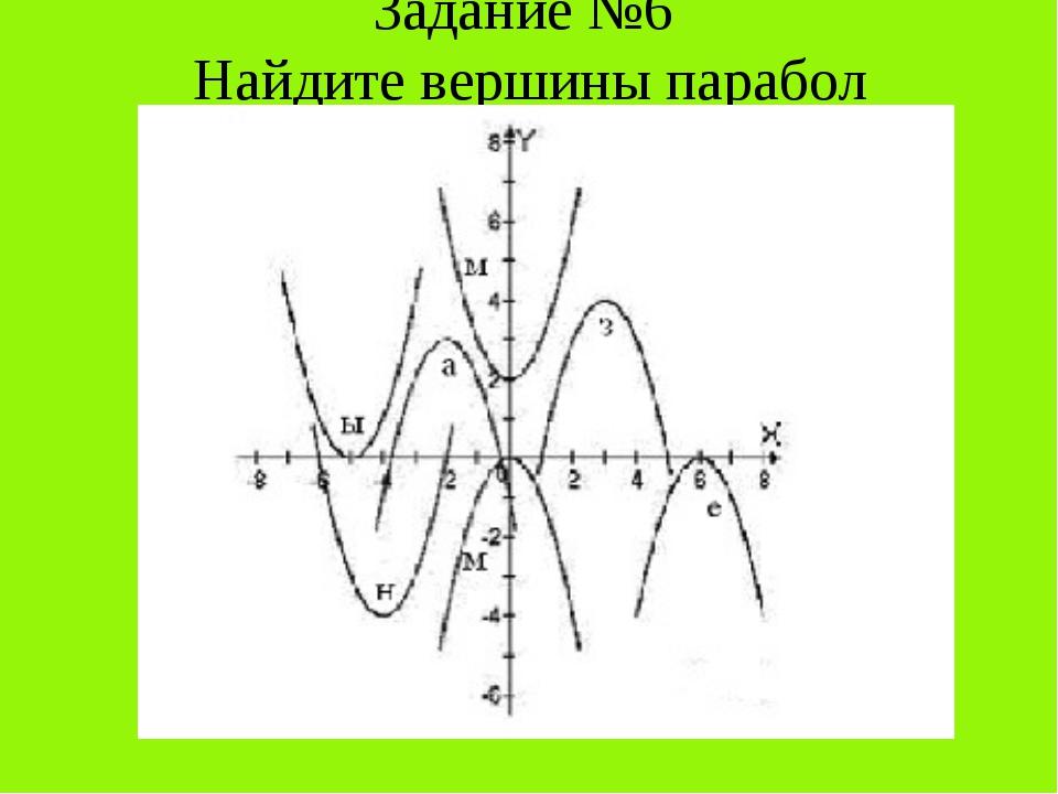 Задание №6 Найдите вершины парабол